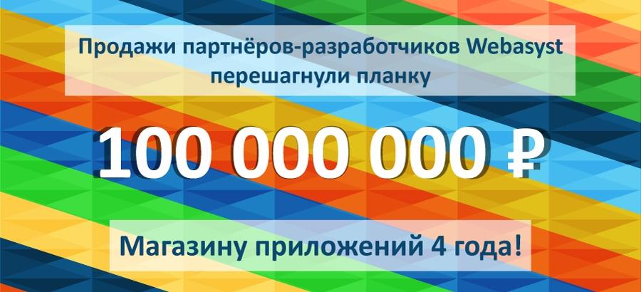 Магазину Webasyst 4 года: 100 миллионов рублей
