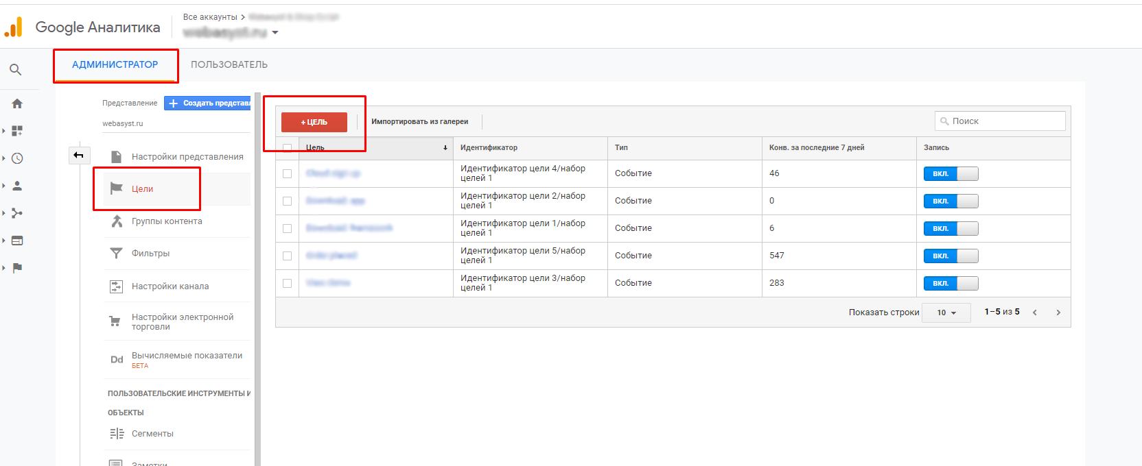 Как создать цель в Google Analytics