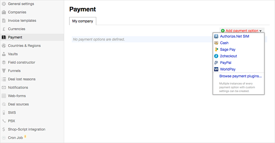 Setting Up Invoice Payment Options In CRM Webasyst - Invoice payment options